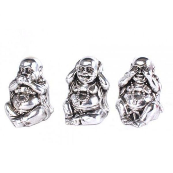 Set of 3 Silver Buddhas 14x15cm