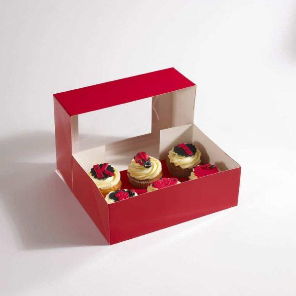 6 Red Cupcake Box