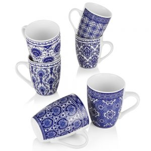Newbridge 6 Blue Mosaic Porcelain Mugs