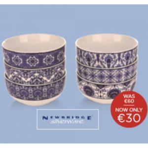 Newbridge 6 Blue Mosaic Porcelain Bowls