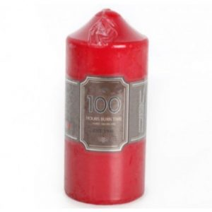 Red Church Pillar Candle Height 16cm Width 7cm