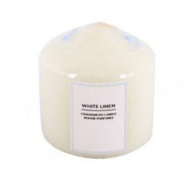 White Linen Pillar Candle 7x7cm