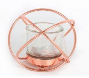 Rose Gold Cross Tea Light Holder 12x9cm