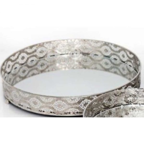 Silver Mirror Candle Plate Diameter 28cm