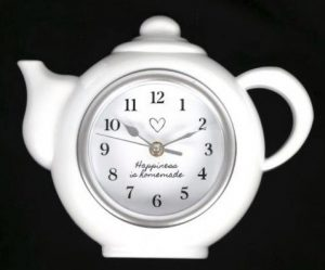 White Plastic Tea Pot Shape Wall Clock 28x23x4cm