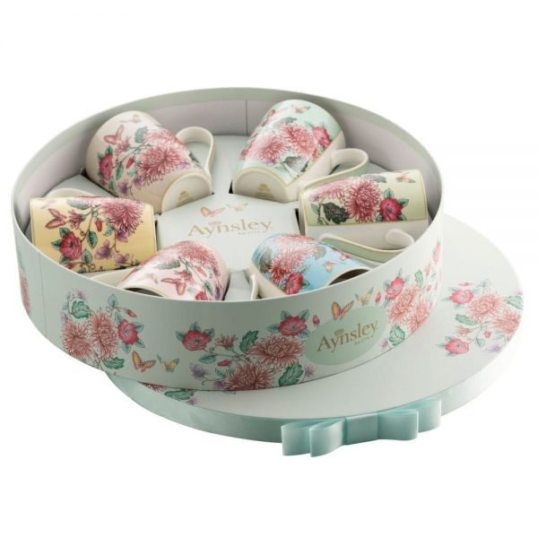 Butterfly Garden 6 Mugs Hat Box Set