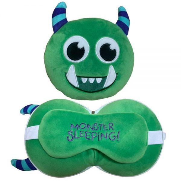 Monstarz Round Travel Pillow and Eye Mask