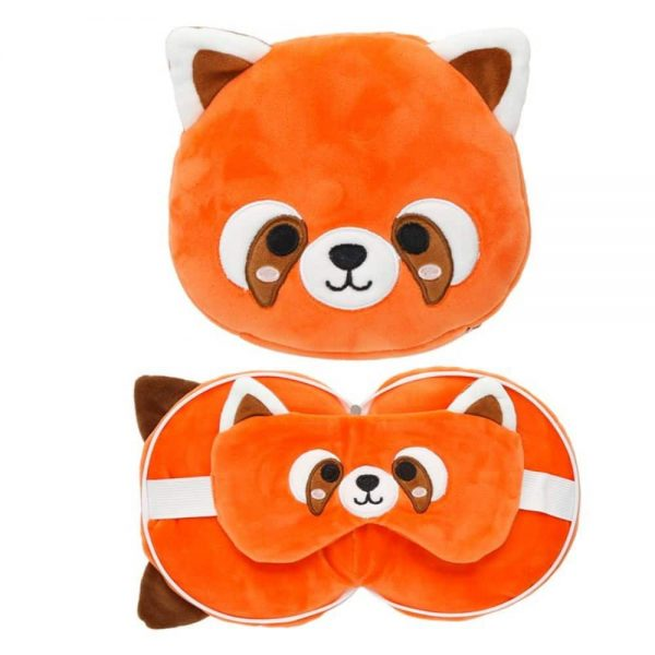 Red Panda Round Travel Pillow and Eye Mask