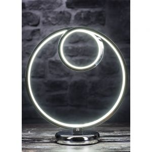 Round Chrome LED Table Lamp Height 30cm