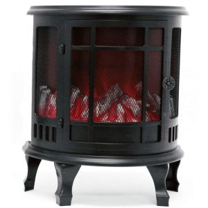 Black Curved Fireplace Lantern Battery Height 35cm