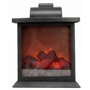 Black Fireplace Lantern Height 19cm