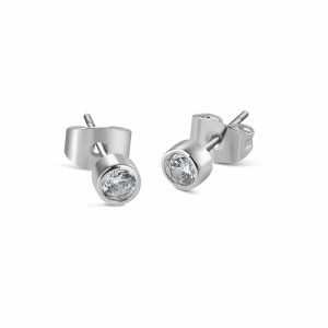 Childrens Clear Stone Stud Earrings