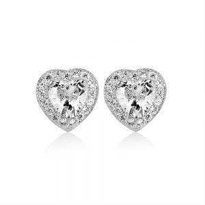 Clear Stone Heart Earrings