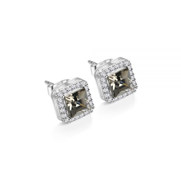 Square Earrings with Clear and Black Stones