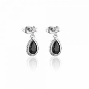 Newbridge Silverware Drop Earrings Black Stone