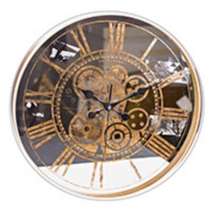 Mirrored Gears Wall Clock Gold 45cm