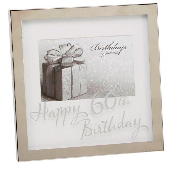 6x4in Silverplated Box Frame 60th Birthday
