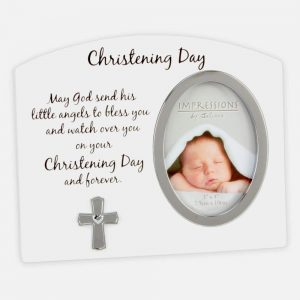3X4 White Silver Christening Day