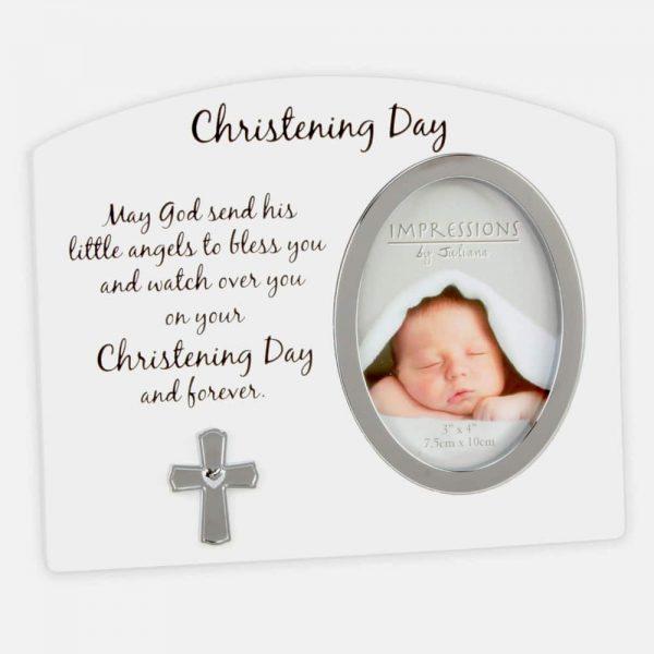 3X4 White Silver Christening Day