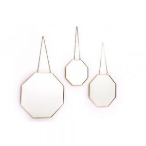 Set of 3 Hanging Gold Colour Geo Mirrors