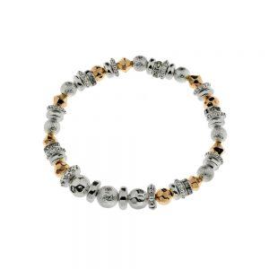 Rose Gold & Rhodium Elasticated Bracelet