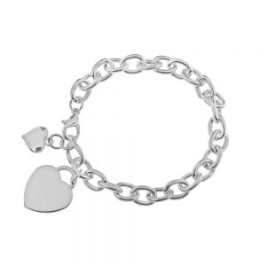 Two Hearts on Chain Bracelet
