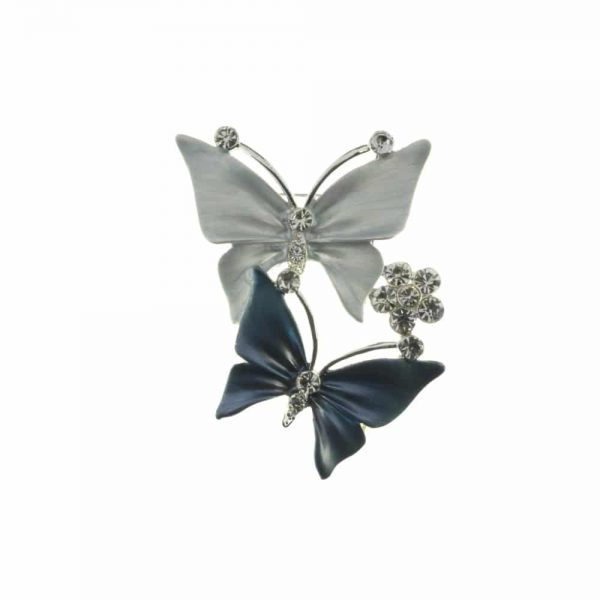 Silver and Blue Butterfly Brooch