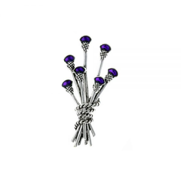 Rhodium & Purple Thistle Bunch Brooch
