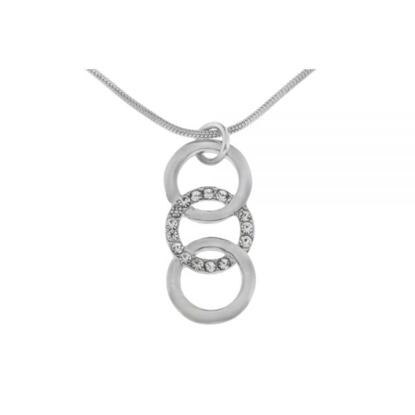 3 Rings Clear Stone Center Rhodium Neclace