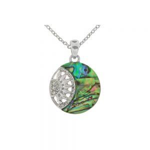 Circular Disc Aberlone Silver Necklace