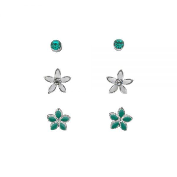 Flowers Small Blue Crystal Trios