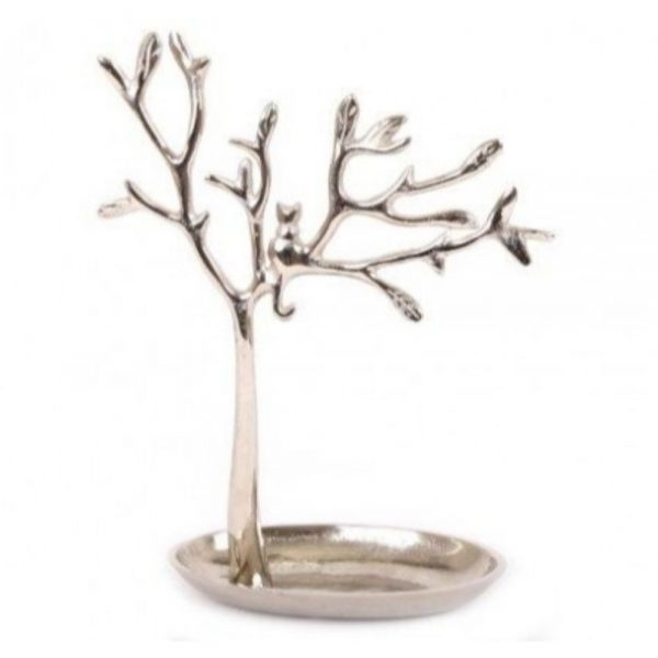 Silver Tree and Cat Jewellery Stand 30x23cm