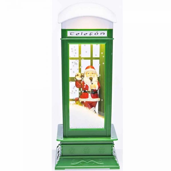 Snowing Green LED Telephone Box with Music H33cm