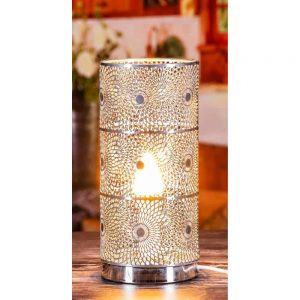 Chrome Cylinder Table Lamp Design H27cm D13cm