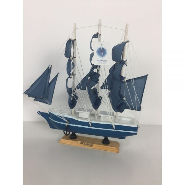 Blue Schooner Height 33cm Length 33cm