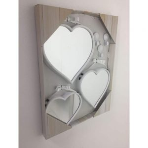 Set of 3 White Heart Mirrors