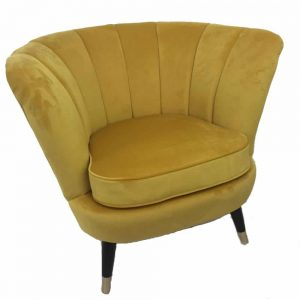 Velvet Plush Emile Shell Chair Mustard