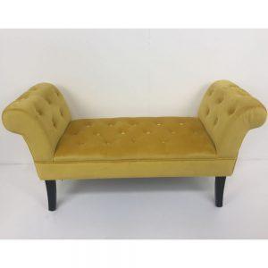 Giselle End Seat Buttoned Mustard Velvet