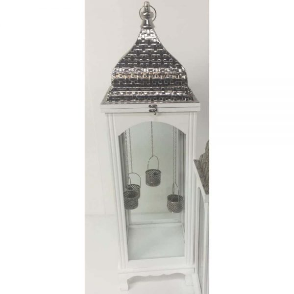 White Wooden Lantern with Metal Top Square 100cm