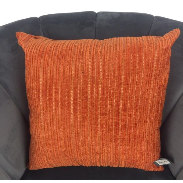 Orange Linear Chenille Cushion Cover 44x44cm