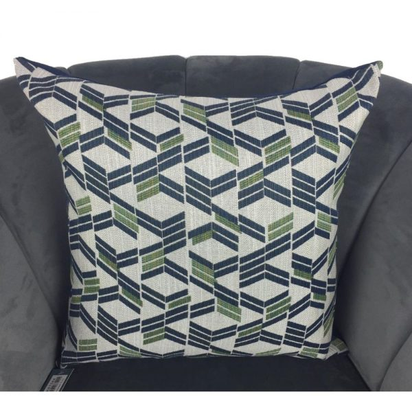 Grey Navy Green Diagonal Cushion Cover 44x44cm