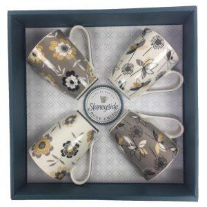 Ruth Slaneyside Pottery Set of 4 Bone China Mugs