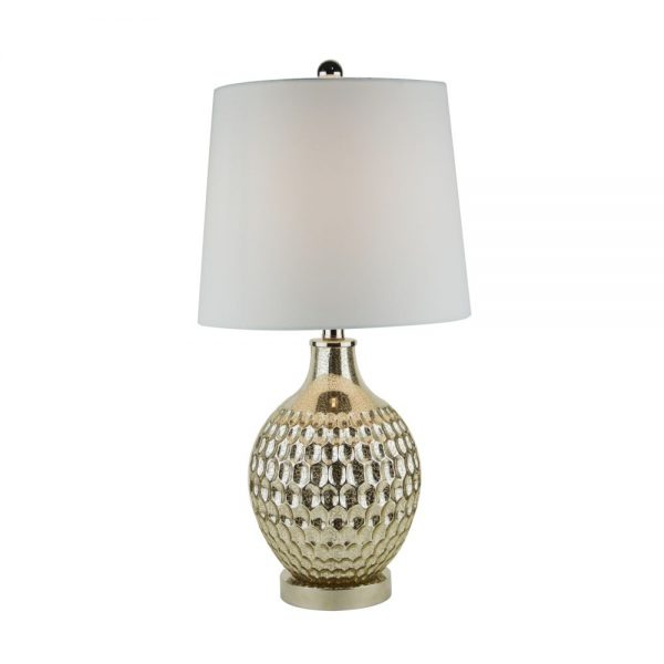 Speckled Glass Metal Base Lamp White Shade H61cm