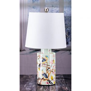 Cylinder Table Lamp Birds Design White Shade H60cm