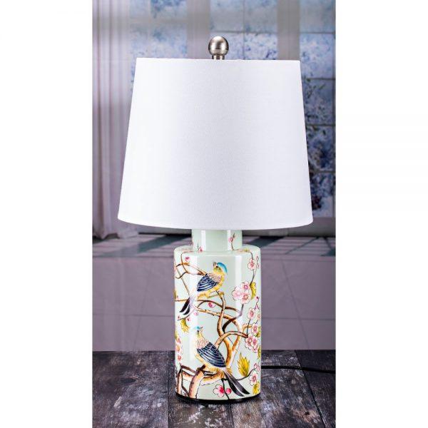Cylinder Table Lamp Birds Design White Shade H60cm