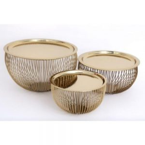 Set of 3 Gold Wire Bowls With Plate Top