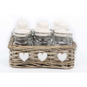 Set of 6 Spice Jars In Basket 17x12cm