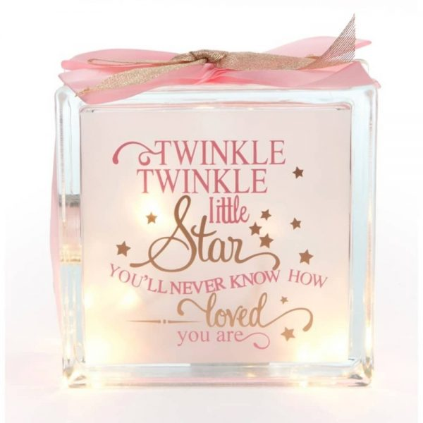 Twinkle - Girl in Pink Glass Block