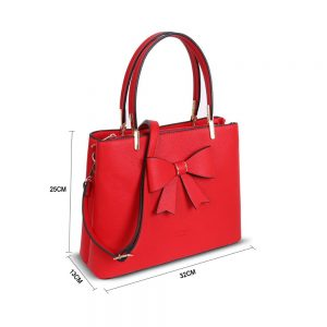 LYDC Bow Detail Tote Handbag In Red