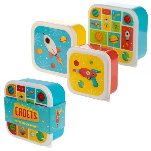 Set of 3 Lunch Boxes Space